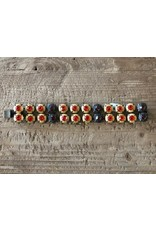 Jean Louis Blinn Gold and Bronze Metal, Orange and Red Stones Bracelet