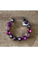 Jean Louis Blinn Bronze Metal w/ Purple and Pink Stones Bracelet