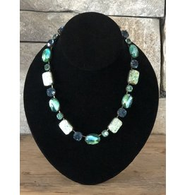 Jean Louis Blinn Green and Blue Crystals Necklace