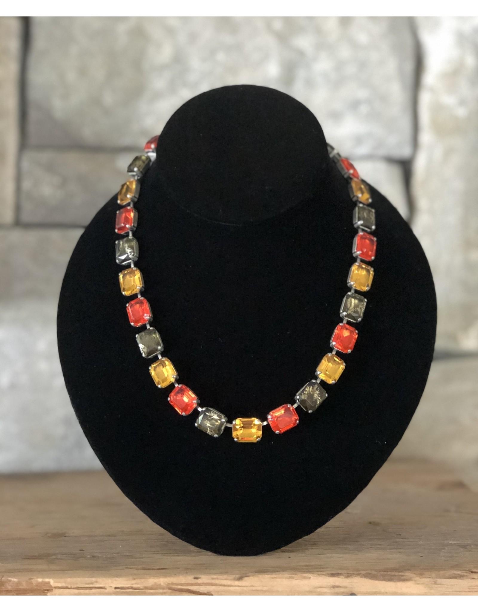 Jean Louis Blinn Antique Silver w/ Topaz and Orange Necklace