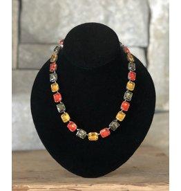 Jean Louis Blin Antique Silver w/ Topaz and Orange Necklace