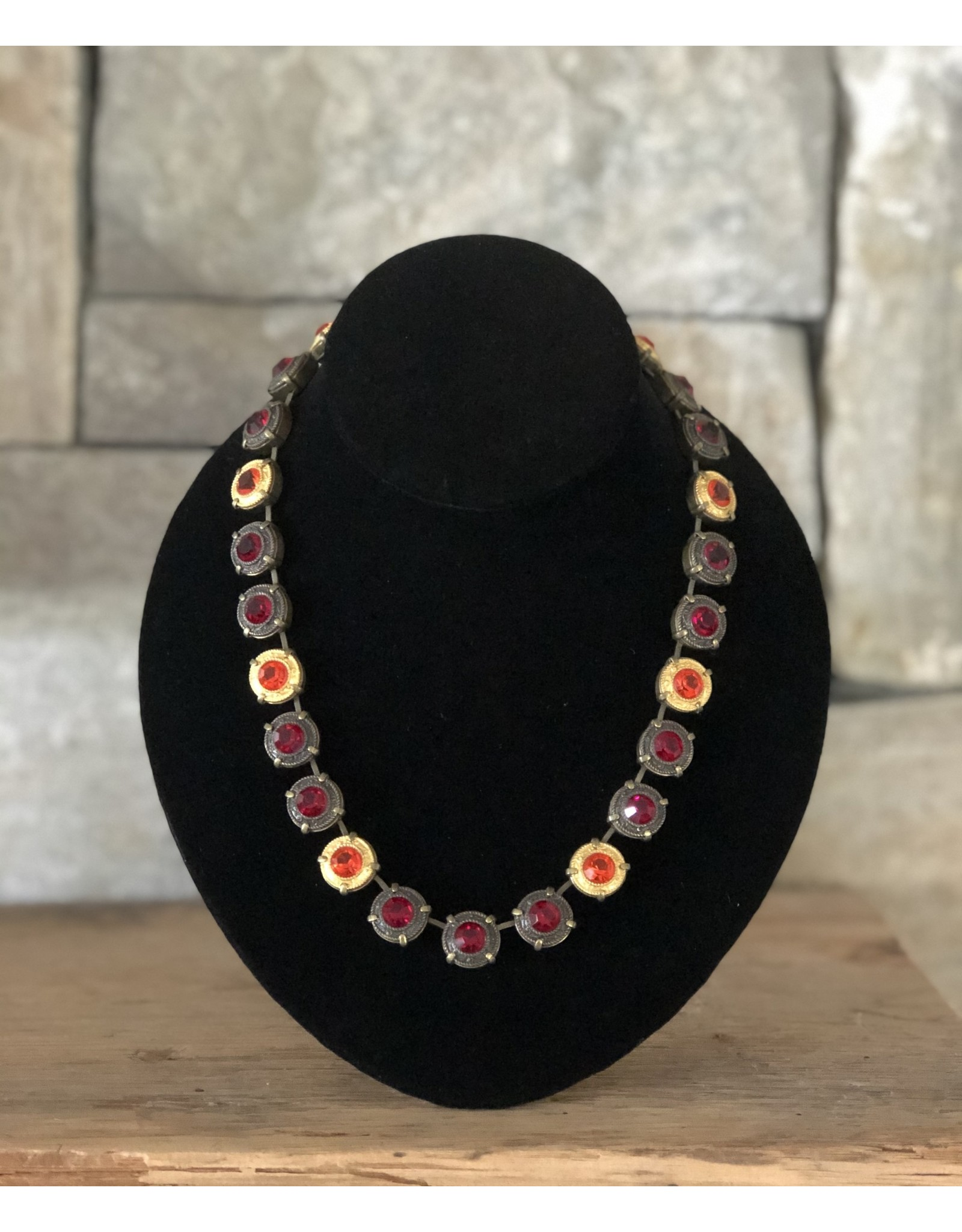 Jean Louis Blinn Yellow and Red w/ Bronze Metal Necklace