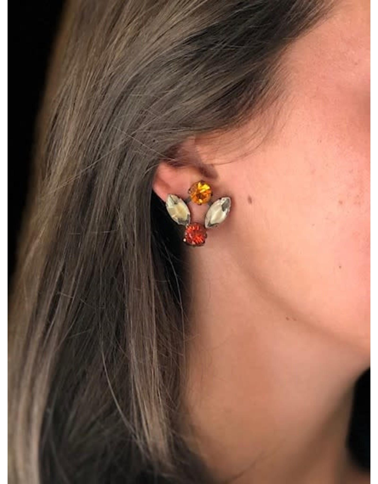 Jean Louis Blinn Bronze Metal w/ Pink, Burgundy  and Peach Clip Earrings
