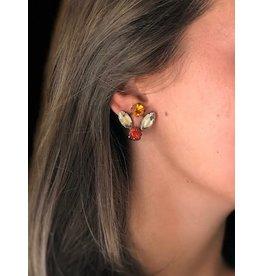 Jean Louis Blin Bronze Metal w/ Pink, Burgundy  and Peach Clip Earrings