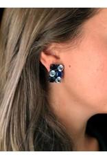 Jean Louis Blinn Navy & Light Blue Crystals Clip Earrings