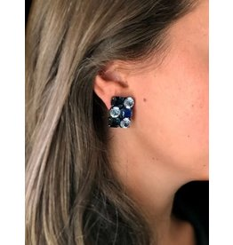 Jean Louis Blinn Navy & Light Blue Crystals Clip Earrings