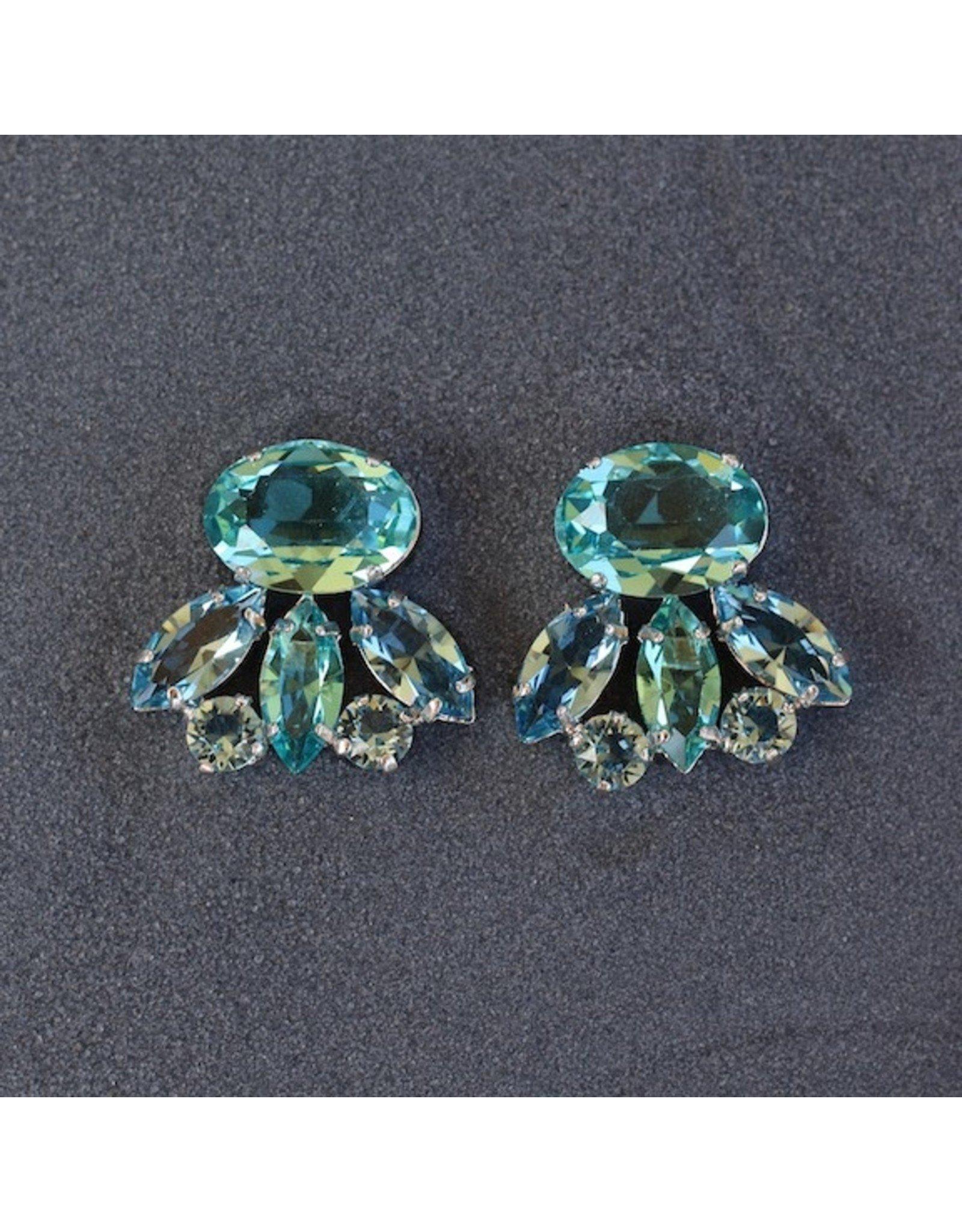 Philippe Ferrandis Aqua and Silver Clip on Earring