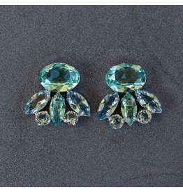 Philippe Ferrandis Aqua and Silver Clip on Earring