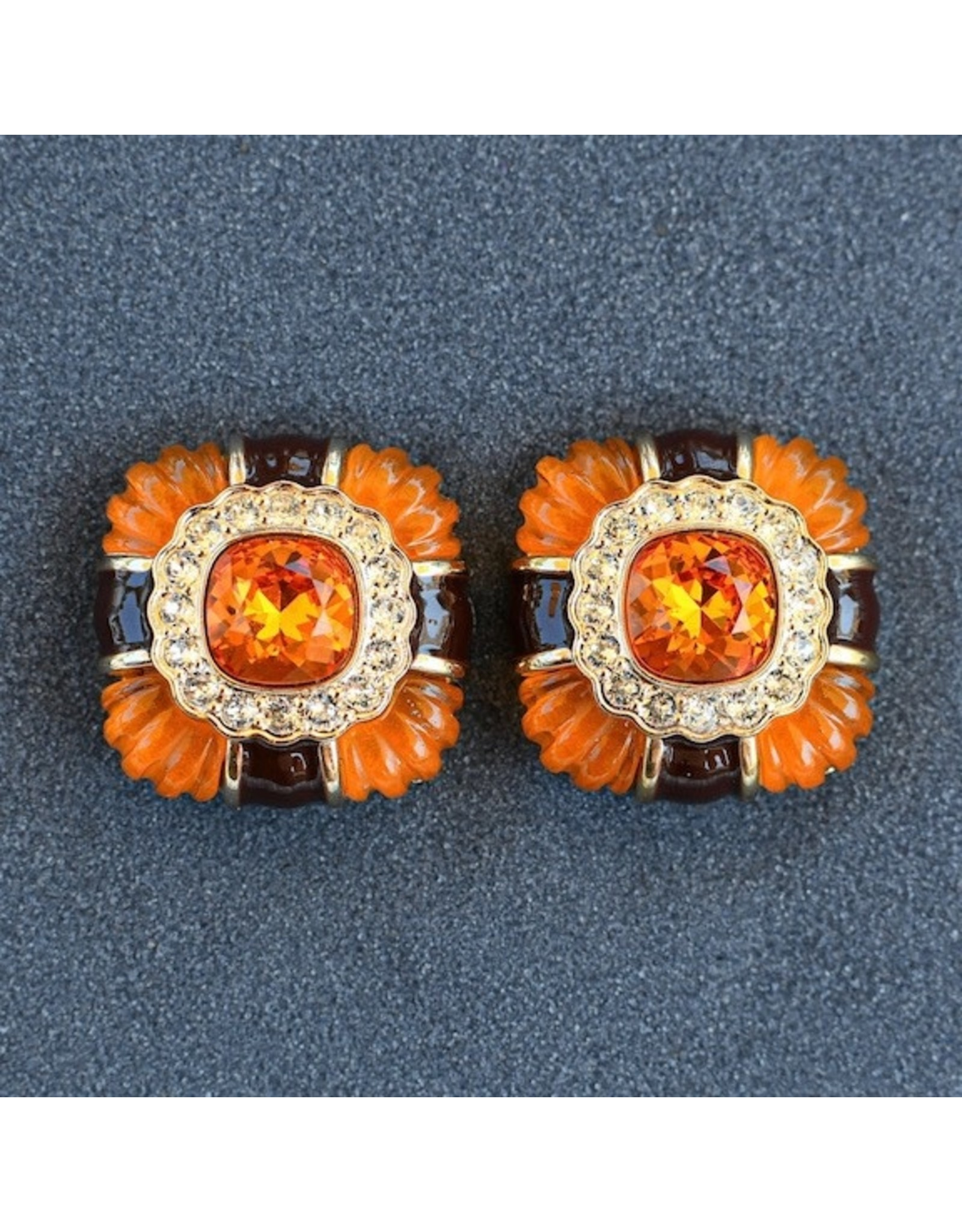 VC Italy Gold, Black and Tangerine Clip on Earring
