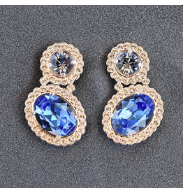 VC Italy Silver and Blue Clip on Earring