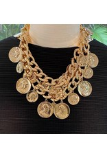 """Kenneth Jay Lane 18"""" Polished Gold 2 Row Coin Necklace"""