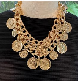 "Kenneth Jay Lane 18"" Polished Gold 2 Row Coin Necklace"