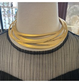 Kenneth Jay Lane Satin Gold Cutout Collar