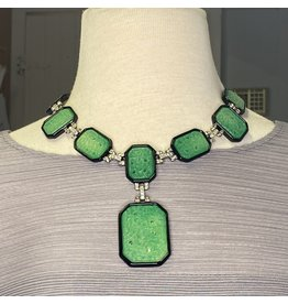 Kenneth Jay Lane Green and Black Necklace