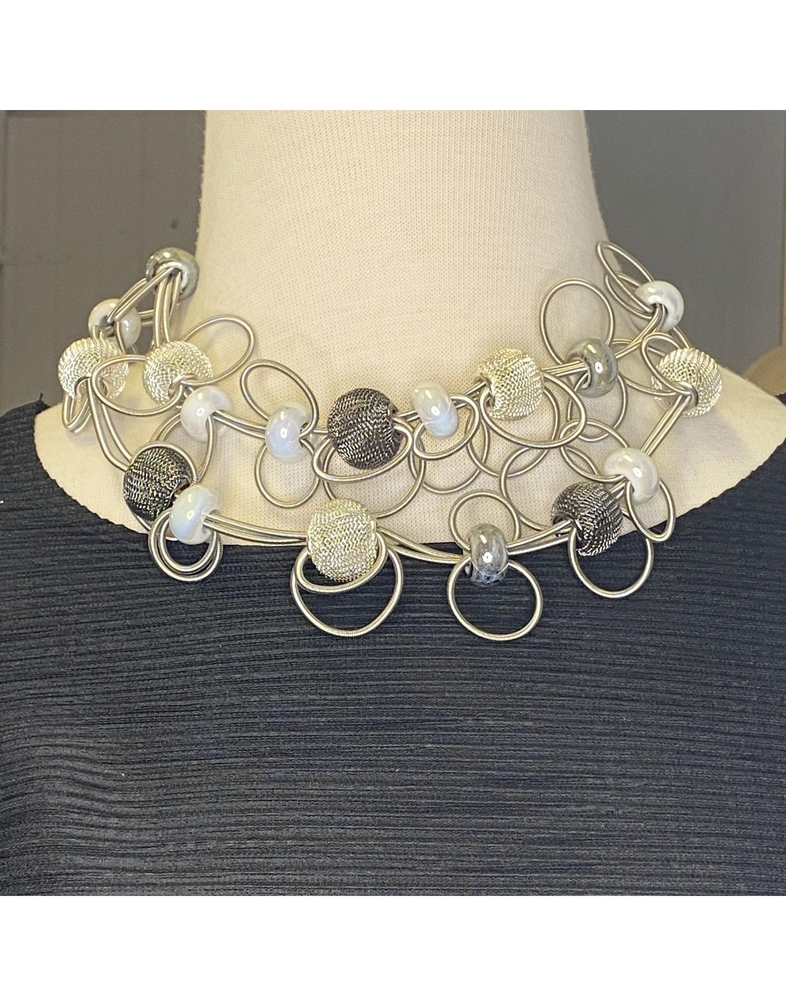 Nikaia Inc. Fine Coil Loops Silver Necklace