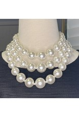 Kenneth Jay Lane 3 Row White Pearl Necklace