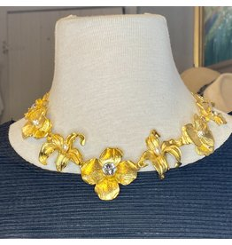 Kenneth Jay Lane Satin Gold Flower w/ Crystals Necklace