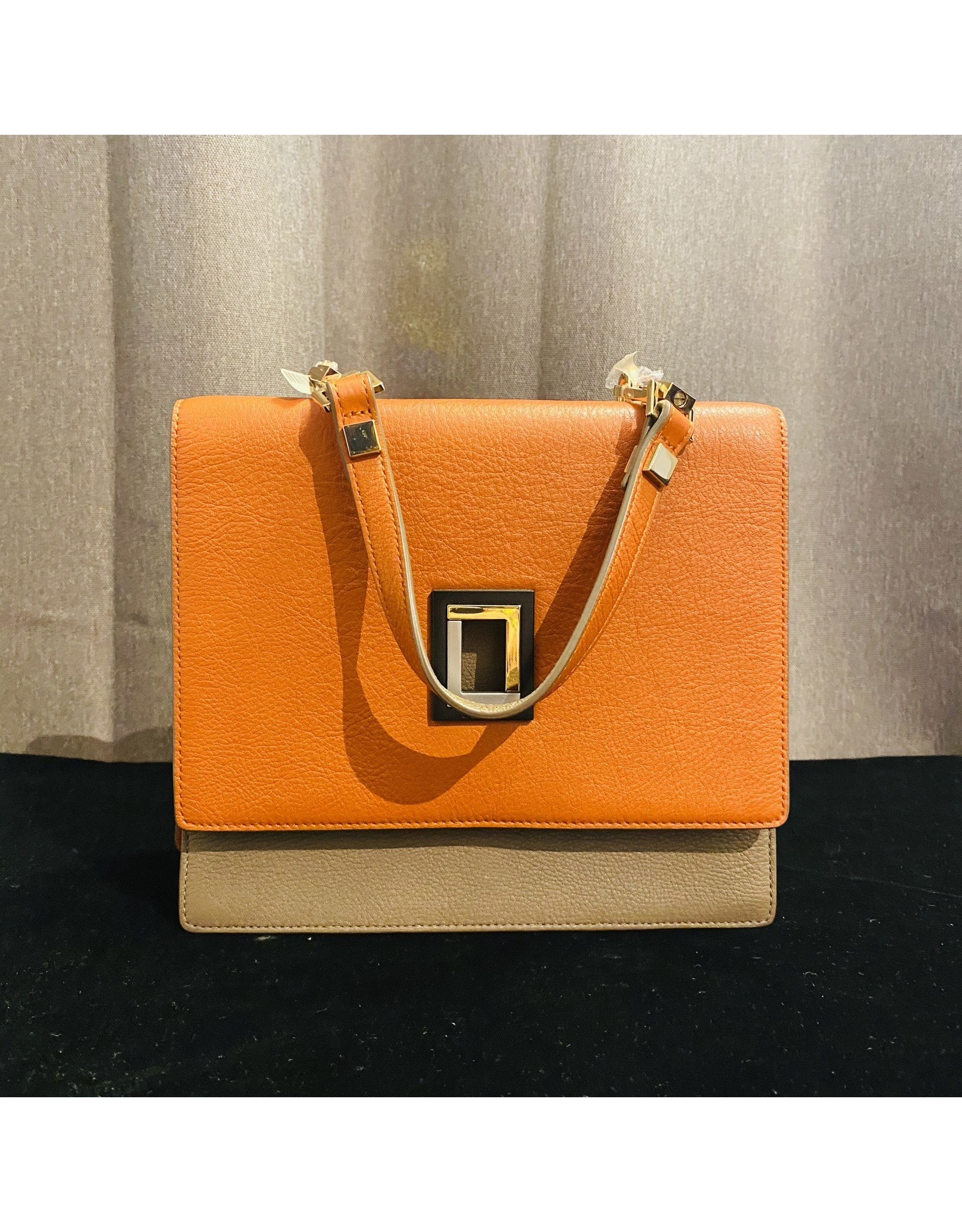 VC Accessories Marianna Satchel in Orange and Taupe
