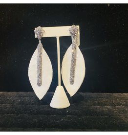 JCM London White Leather Feather and Hematite Pierced Earring