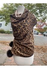 La Fiorentina Leopard Print, Double Sided Shawl w/ Fox Fur Pom