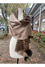 La Fiorentina Leopard Print, Double Sided Shawl w/ Fox Fur Pom