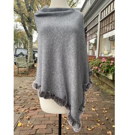 La Fiorentina Grey Poncho w/ Rabbit Fur Trim