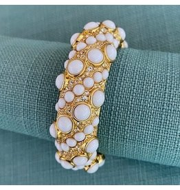 Kenneth Jay Lane Gold w/ White and Rhinestone