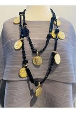 Angela Caputi 1 Long Strand Black w/ Gold Coins