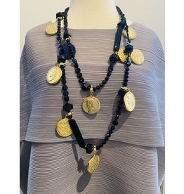 Angela Caputi 1 Long Strand Black w/ Gold Coins