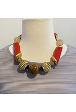 Angela Caputi Red and Gold w/ Black Details Necklace