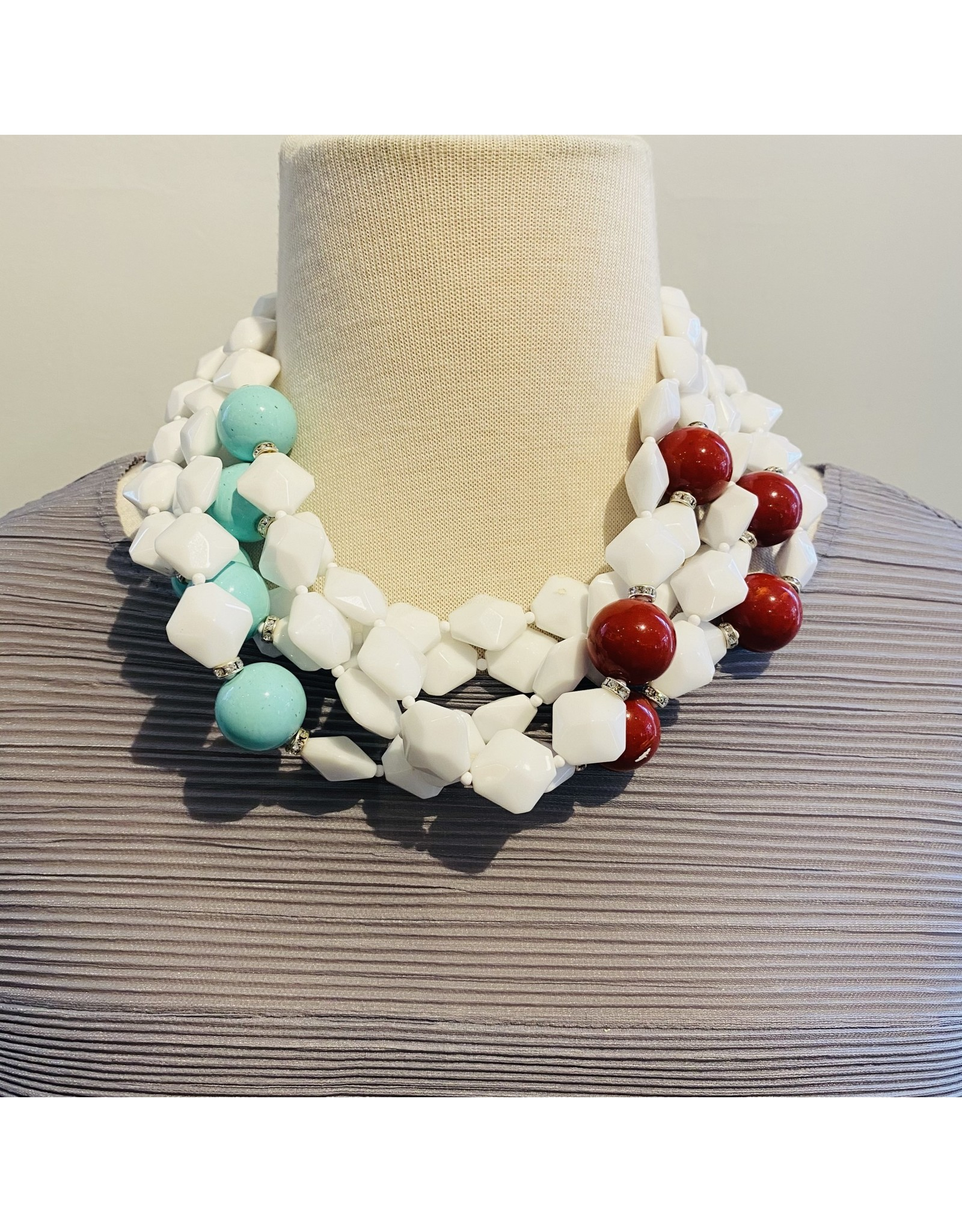 Angela Caputi Whte Necklace w/ Red & Turquoise Beads