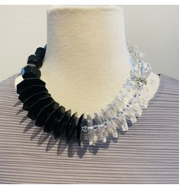 Angela Caputi Black and Clear Necklace w/ Silver Details
