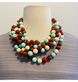 Angela Caputi 5 Strands: Red, White, Turquoise and Brown  Necklace