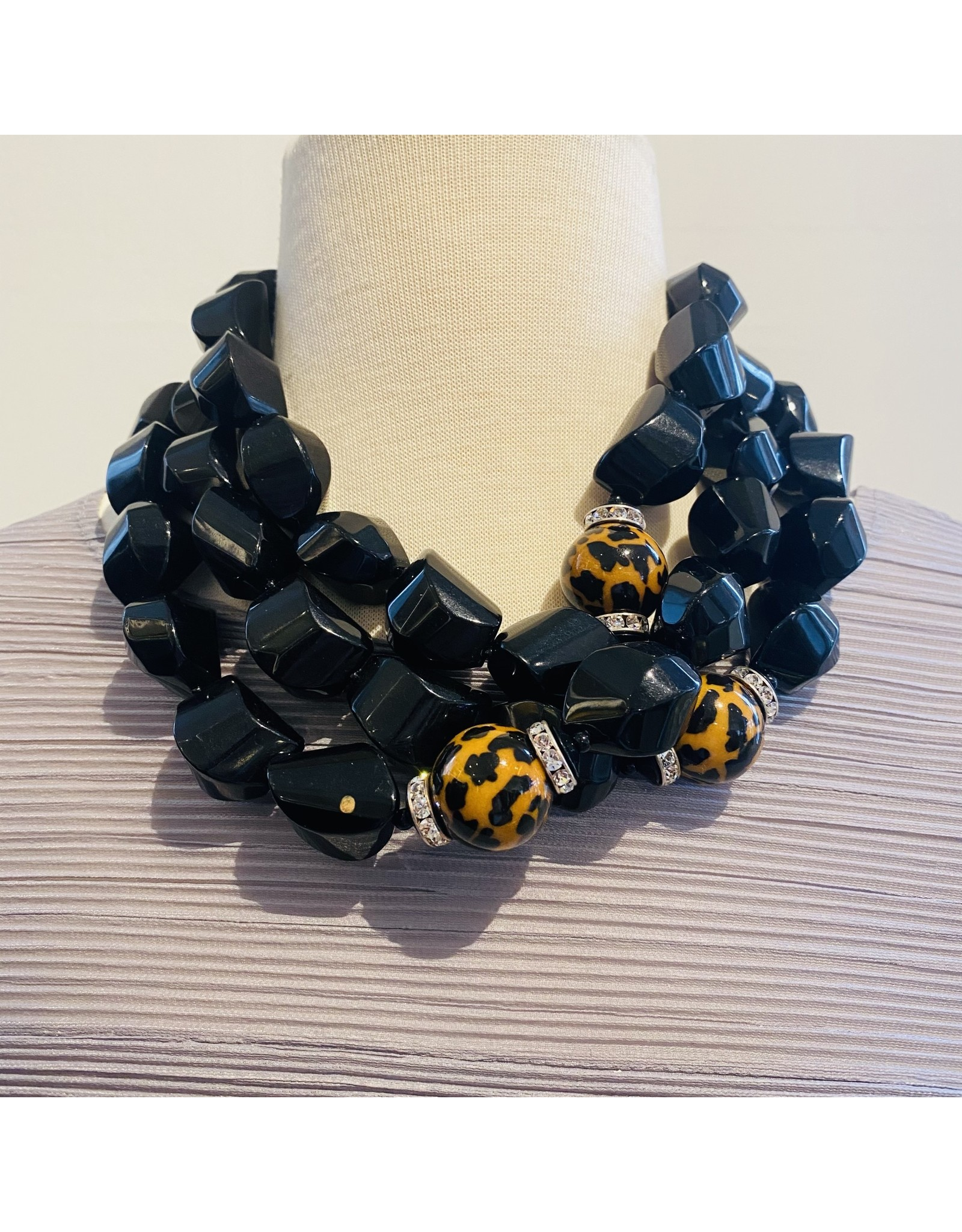 Angela Caputi Black Necklace w/ Leopard  Details
