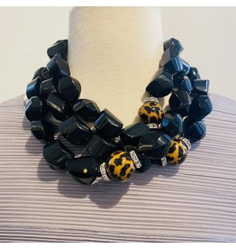Angela Caputi Black Necklace w/ Leopard  Details