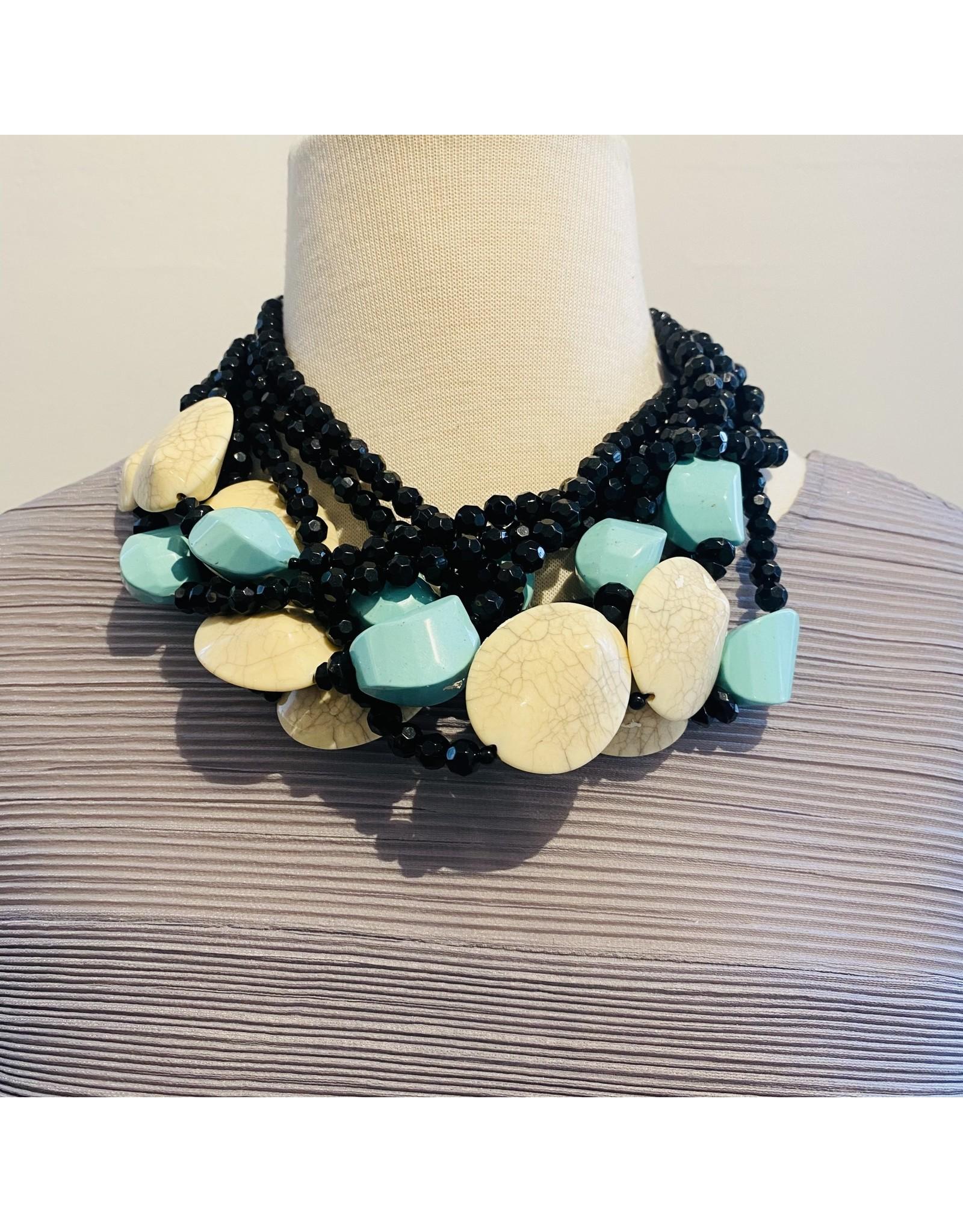 Angela Caputi Black, Cream and Turquoise Necklace