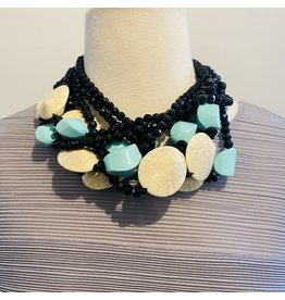 Angela Caputi Black, Cream and Turquoise Necklace