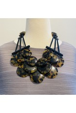 Angela Caputi 3 Strand: Smooth Disk, Tortoiseshell and Black Necklace