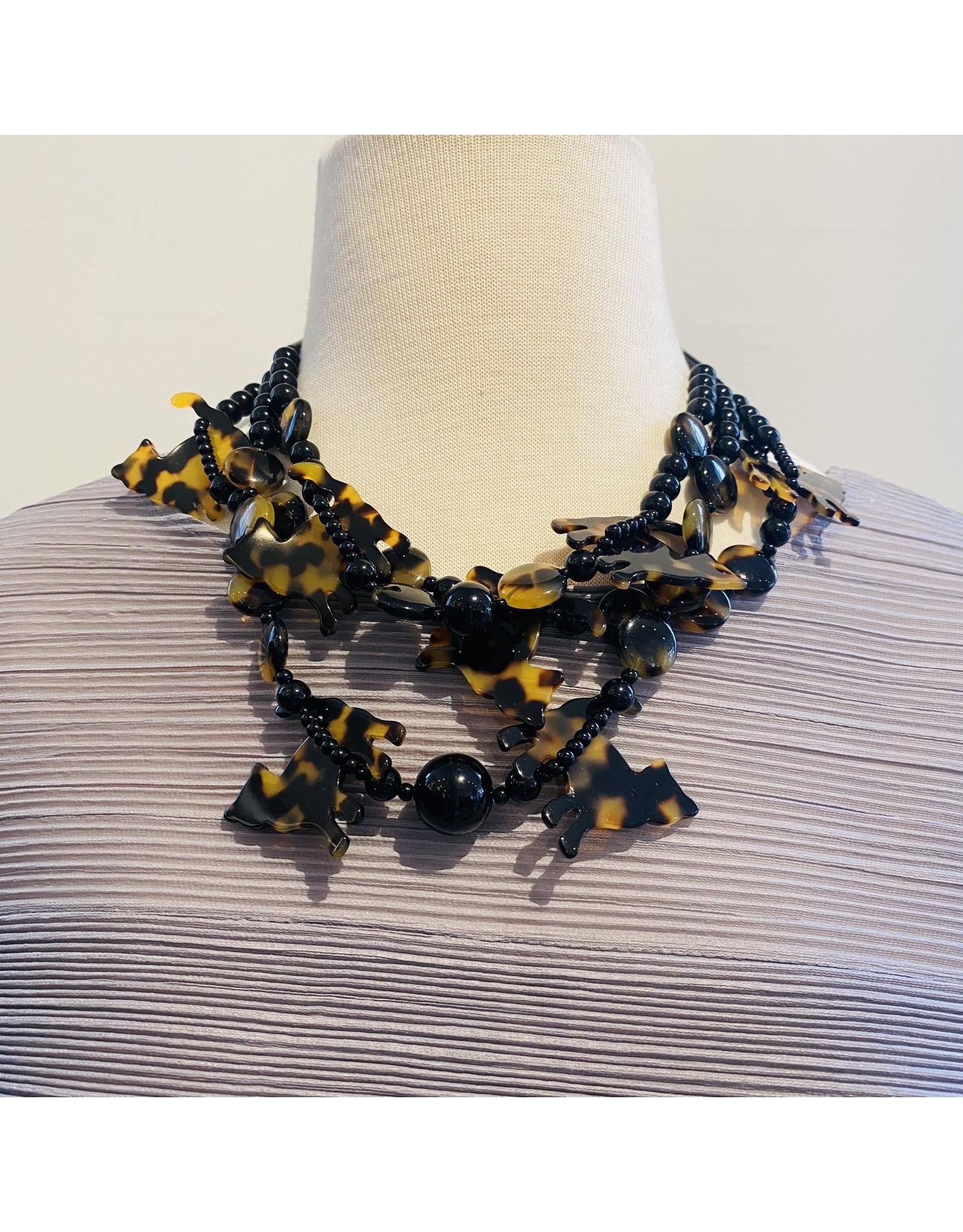 Angela Caputi 3 Strands: Tortoiseshell Cats Necklace