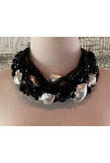Angela Caputi 10 Strands Twist Black w/ Silver Fish Necklace