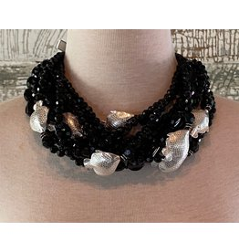 Angela Caputi 10 Strands Twist Black w/ Silver Fish Necklace
