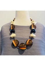 Angela Caputi Bonbon Cream Brown and Black Necklace