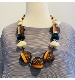Angela Caputi Bonbon Cream Brown and Black Necklace