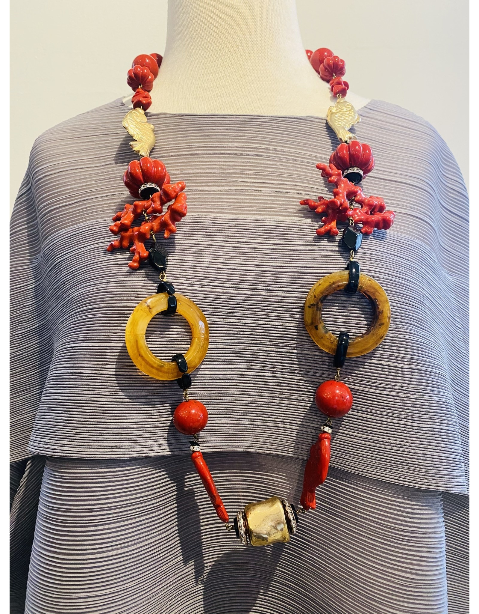 Angela Caputi Red, Gold and Black Long Coral Necklace