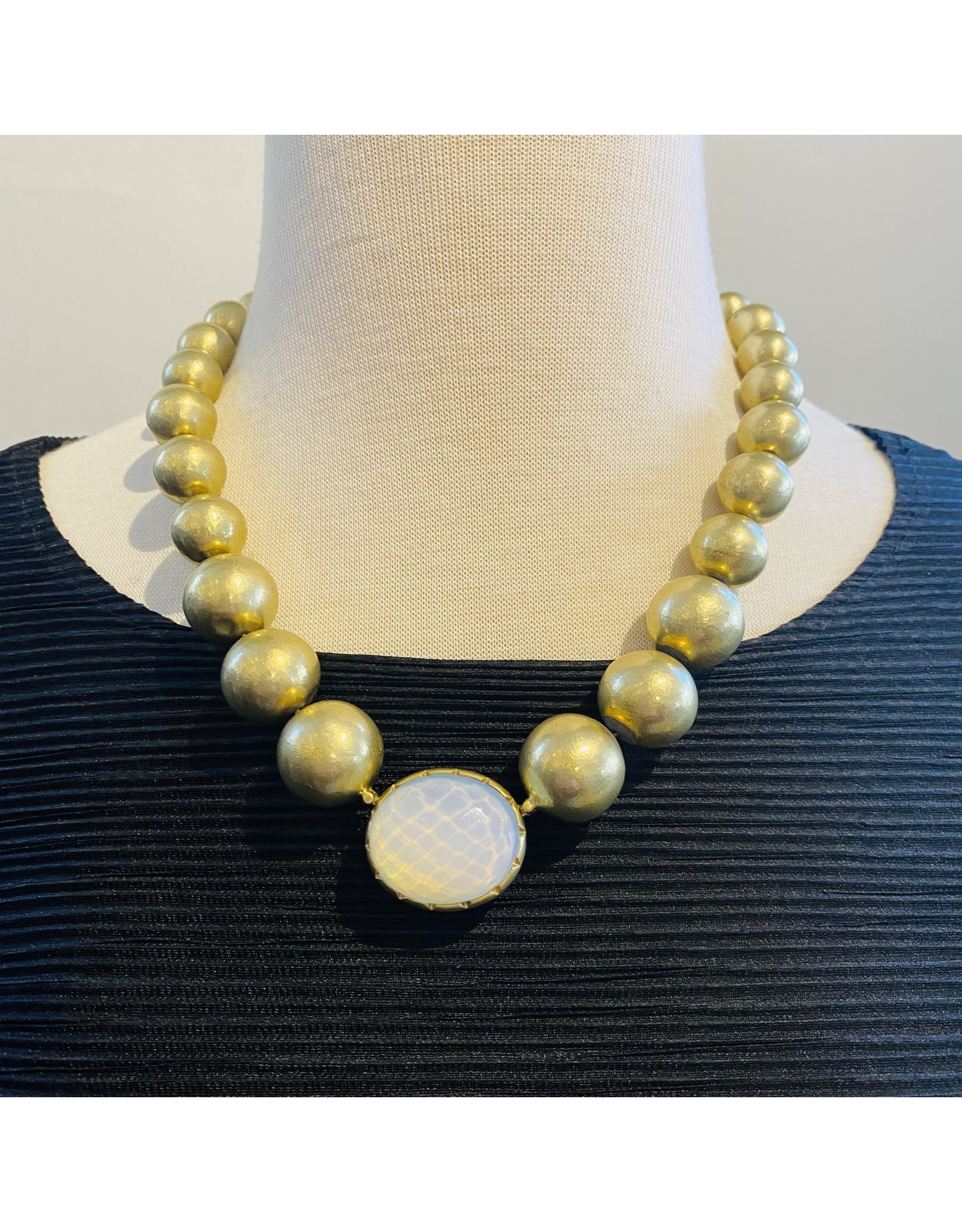 Vaubel Double Sided: Eggplant and White Bezel w/Gold Orbs Chain