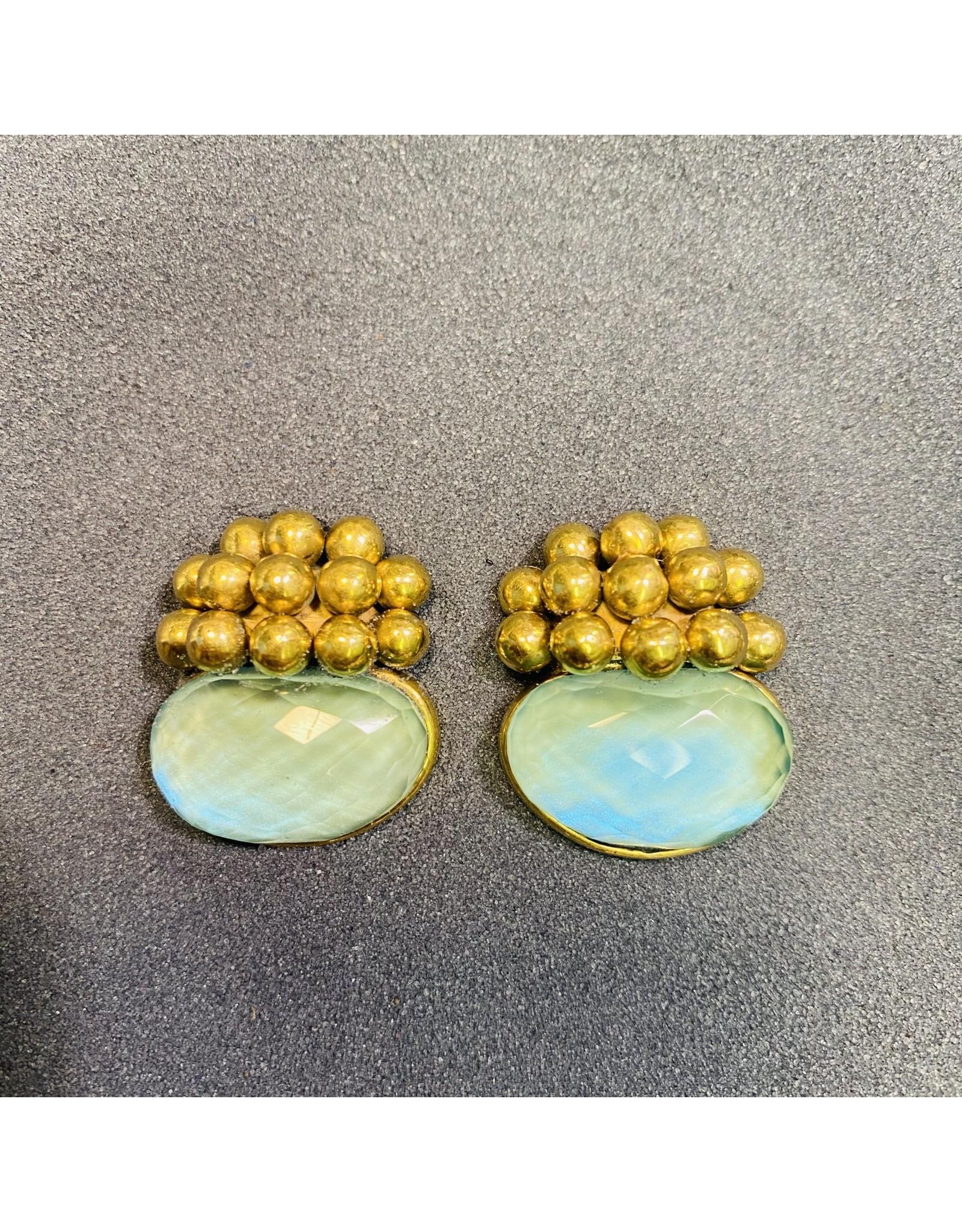 Vaubel Little Gold Balls with Amethyst Clip Earring