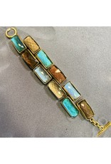 Vaubel Rect Stones: Blue, Green and Brown Bracelet