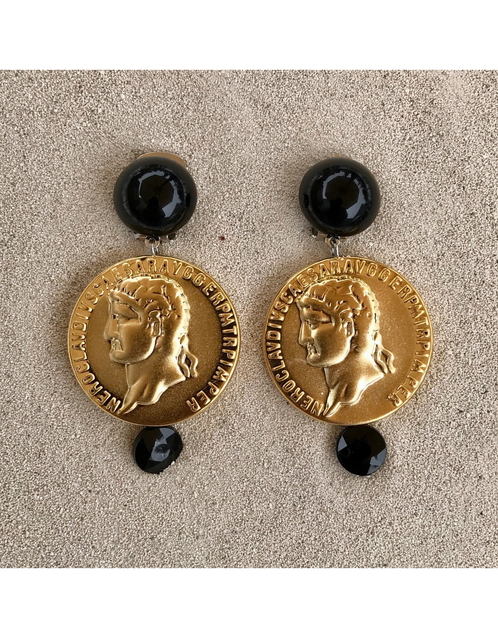 Angela Caputi Round Coin Drop Clip Earring