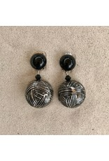 Angela Caputi Carved Silver and Black Clip Earring
