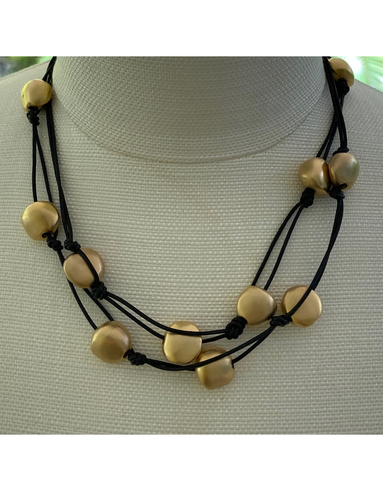 Deborah Grivas Design Matte Gold and Leather Long Necklace